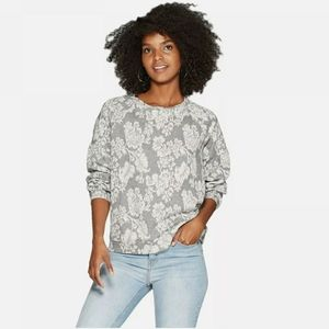 KNOX ROSE Floral Crewneck French Terry Sweatshirt